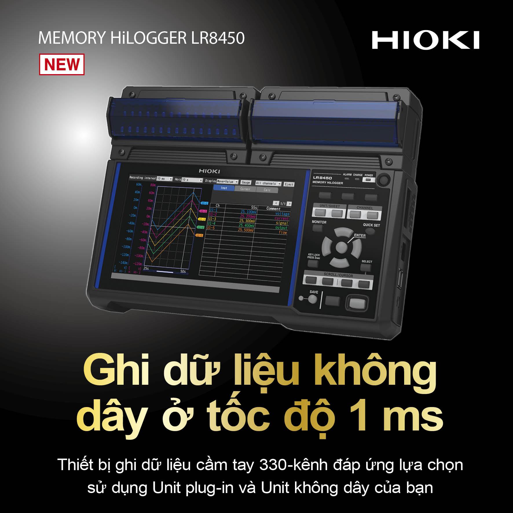 Thiết bị đo Memory HiLogger LR8450 xách tay, ghi dữ liệu không dây