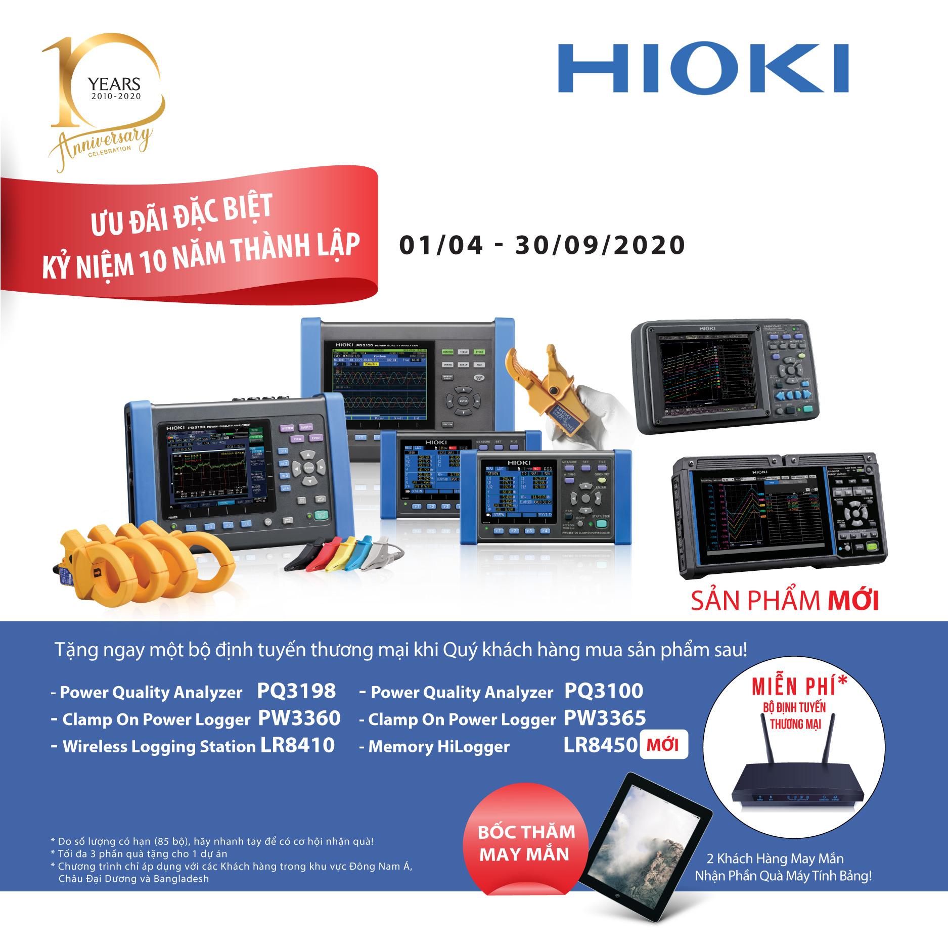 Ưu đãi khi mua thiết bị Hioki Việt Nam PQ3198 PW3360 LR8450