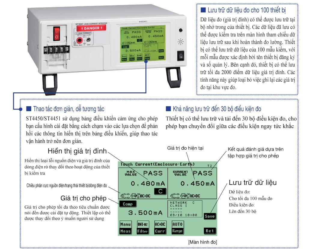 Chức năng thiết bị đo dòng rò hioki LEAK CURRENT HITESTER ST5540